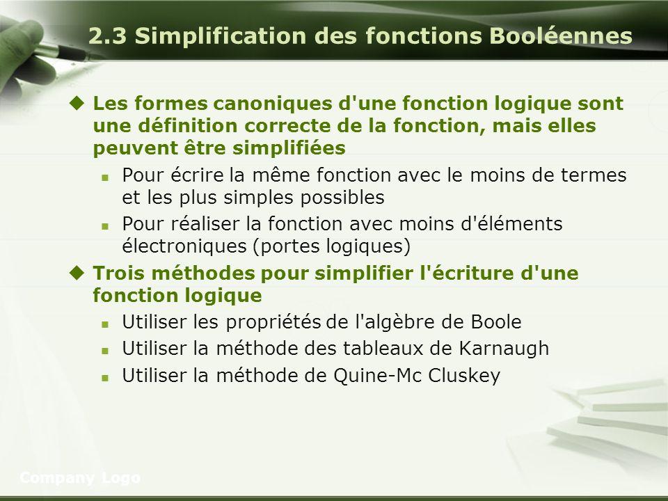2.3 Simplification des fonctions Booléennes