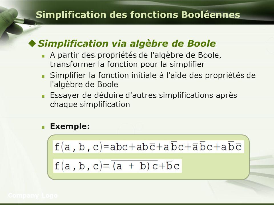 Simplification des fonctions Booléennes