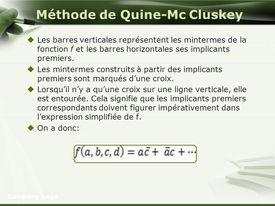 Méthode de Quine-Mc Cluskey