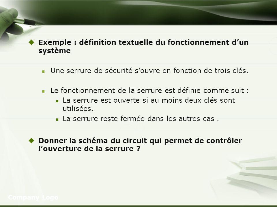 Exemple : définition textuelle du fonctionnement d'un système