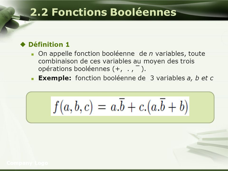 2.2 Fonctions Booléennes Définition 1