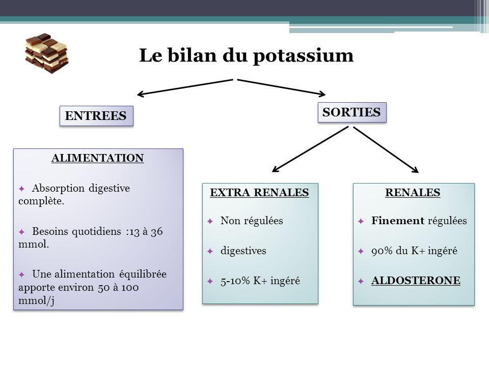 Le bilan du potassium SORTIES ENTREES ALIMENTATION