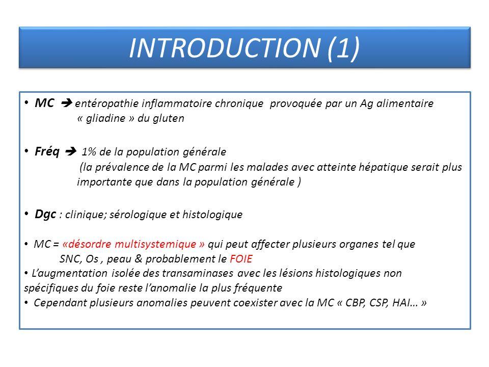 INTRODUCTION (1) MC  entéropathie inflammatoire chronique provoquée par un Ag alimentaire. « gliadine » du gluten.