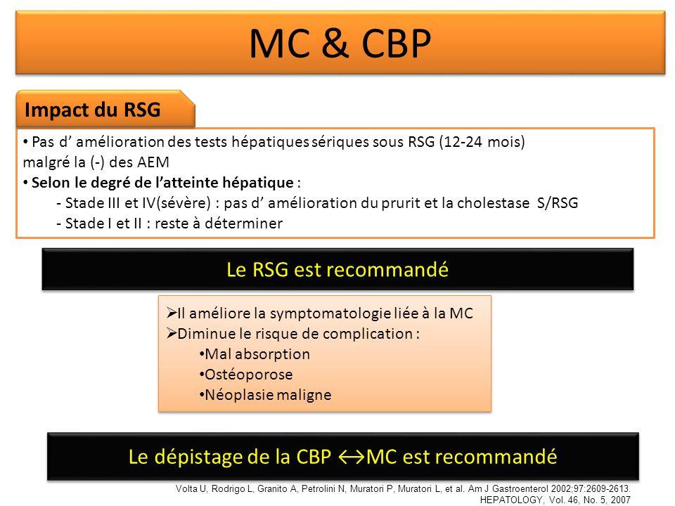 Le dépistage de la CBP ↔MC est recommandé