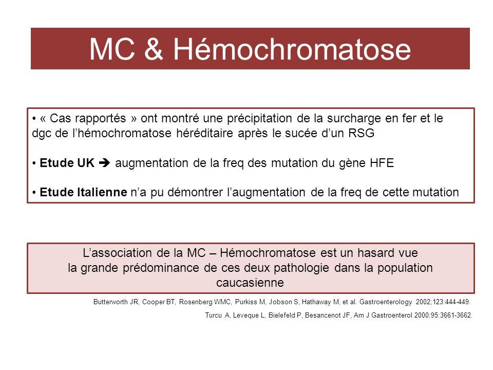 L'association de la MC – Hémochromatose est un hasard vue