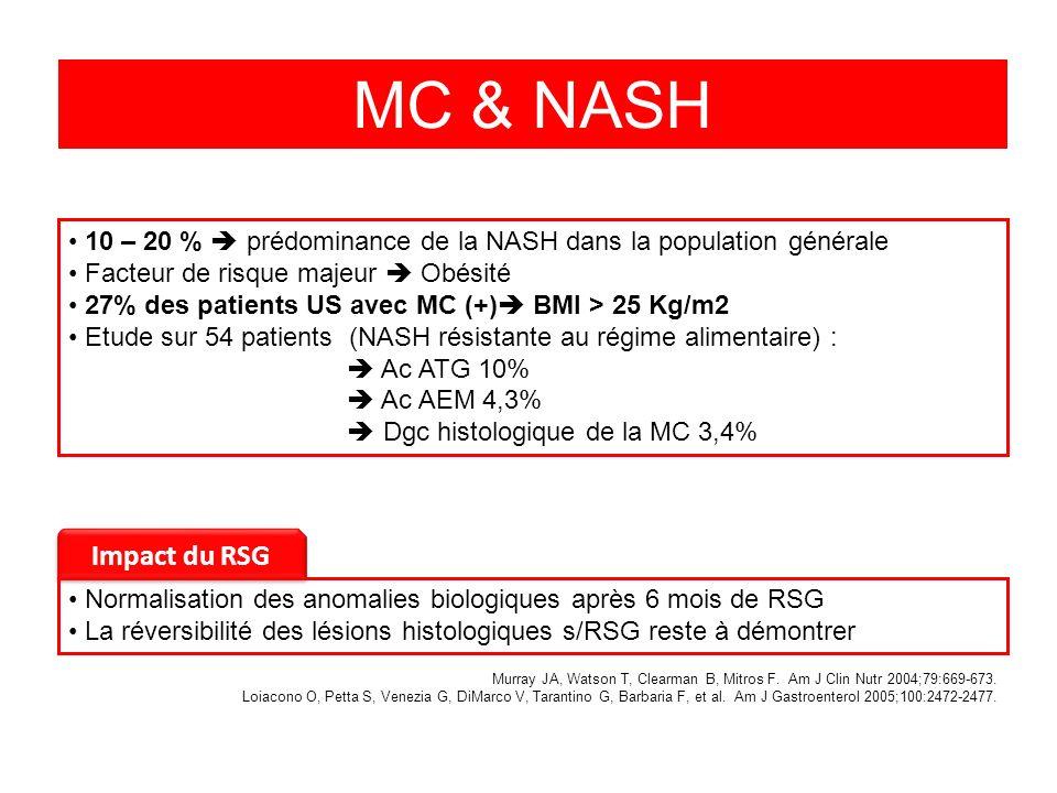 MC & NASH 10 – 20 %  prédominance de la NASH dans la population générale. Facteur de risque majeur  Obésité.