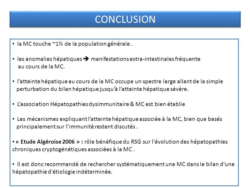 CONCLUSION la MC touche ~1% de la population générale .