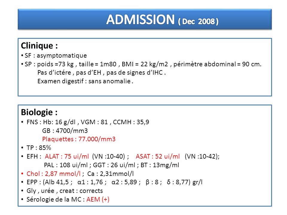 Clinique : Biologie : ADMISSION ( Dec 2008 ) SF : asymptomatique