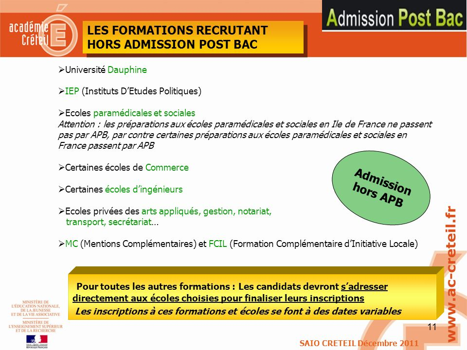 LES FORMATIONS RECRUTANT HORS ADMISSION POST BAC