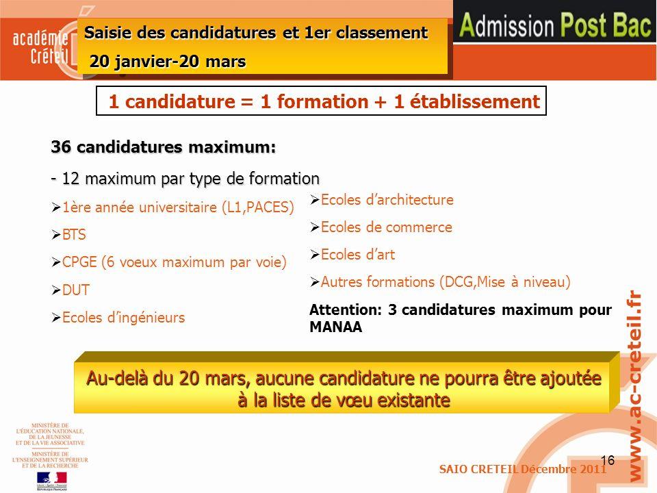 1 candidature = 1 formation + 1 établissement