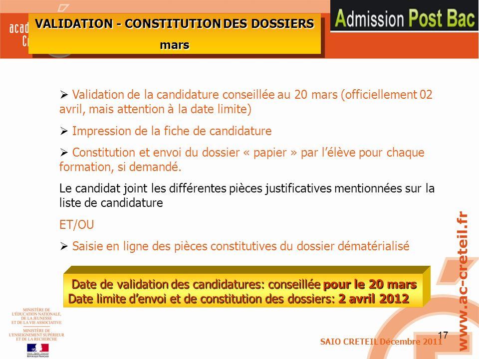 VALIDATION - CONSTITUTION DES DOSSIERS