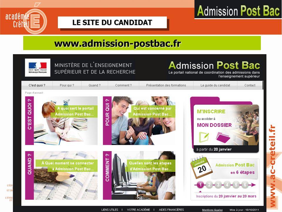 www.admission-postbac.fr LE SITE DU CANDIDAT REVOIR SITE TEST 2-11 2