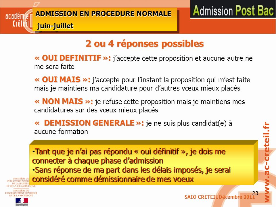ADMISSION EN PROCEDURE NORMALE