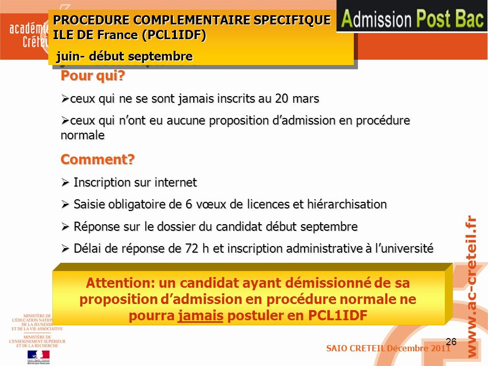 PROCEDURE COMPLEMENTAIRE SPECIFIQUE ILE DE France (PCL1IDF)