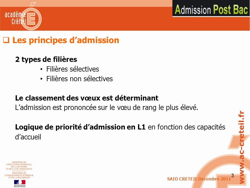 Les principes d'admission