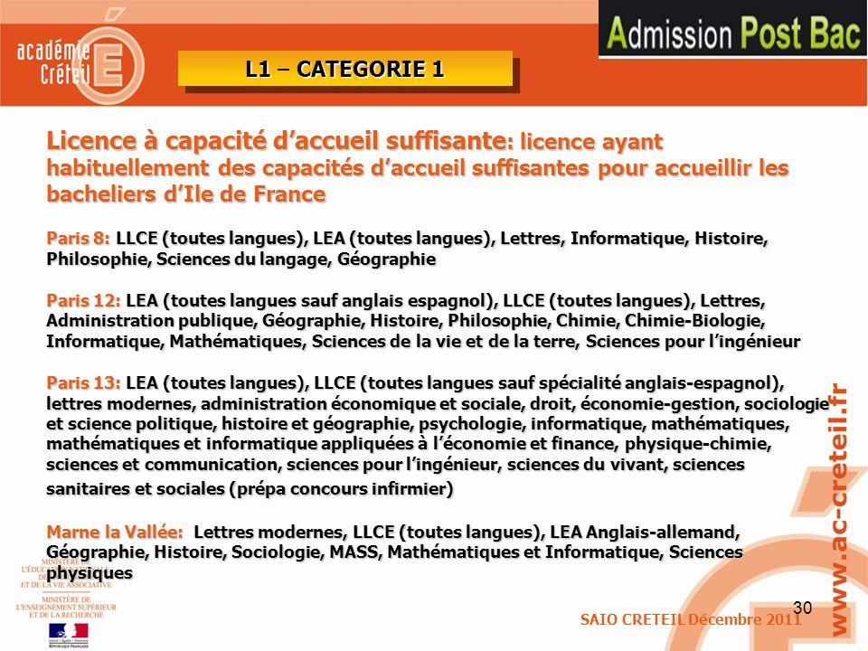 L1 – CATEGORIE 1