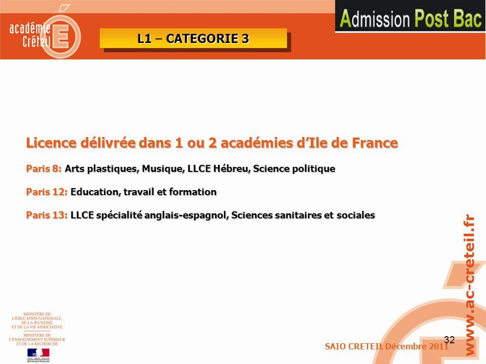 Licence délivrée dans 1 ou 2 académies d'Ile de France