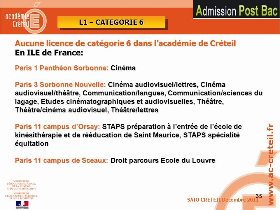 Aucune licence de catégorie 6 dans l'académie de Créteil