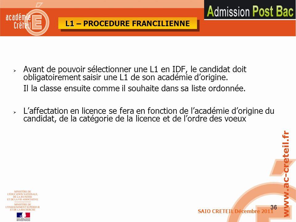 L1 – PROCEDURE FRANCILIENNE