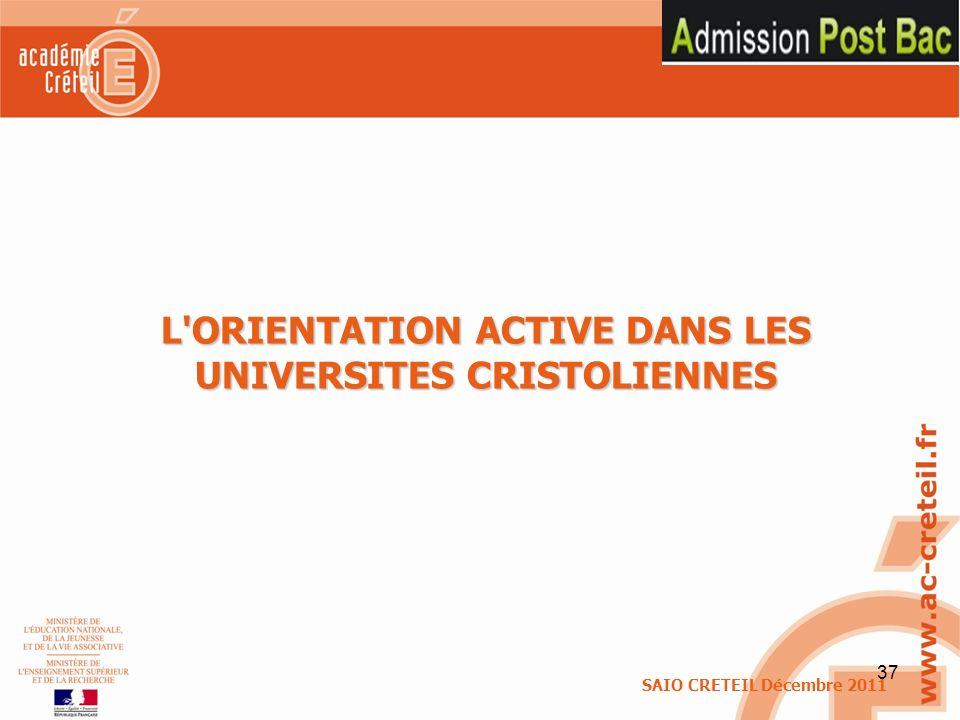 L ORIENTATION ACTIVE DANS LES UNIVERSITES CRISTOLIENNES