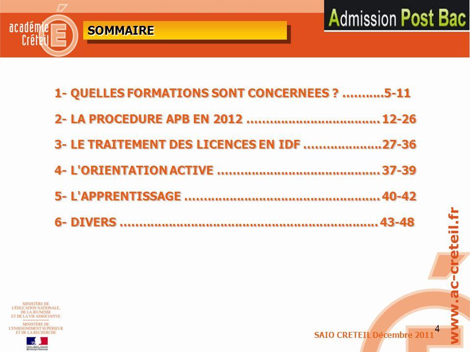 1- QUELLES FORMATIONS SONT CONCERNEES ...........5-11