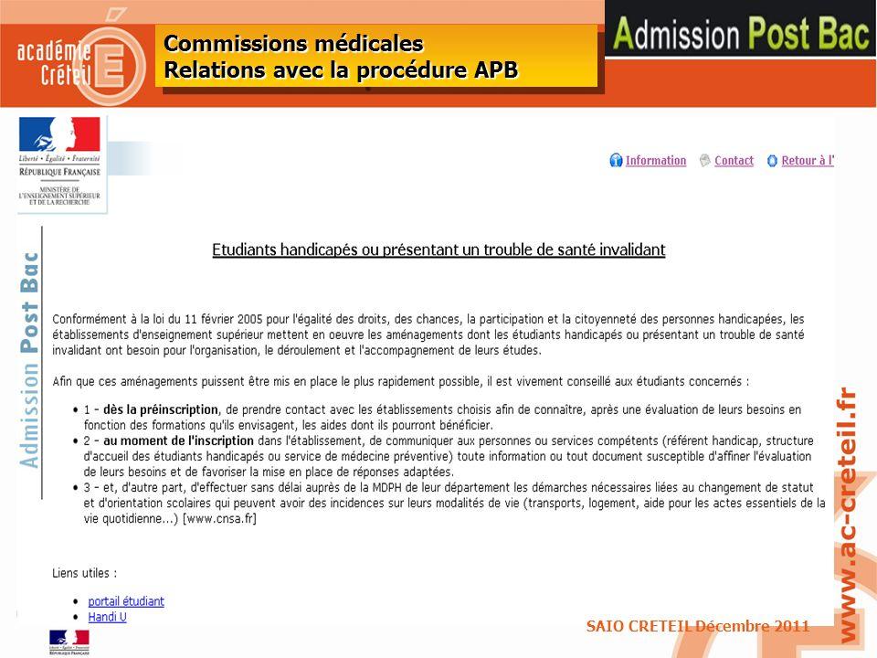 Commissions médicales Relations avec la procédure APB
