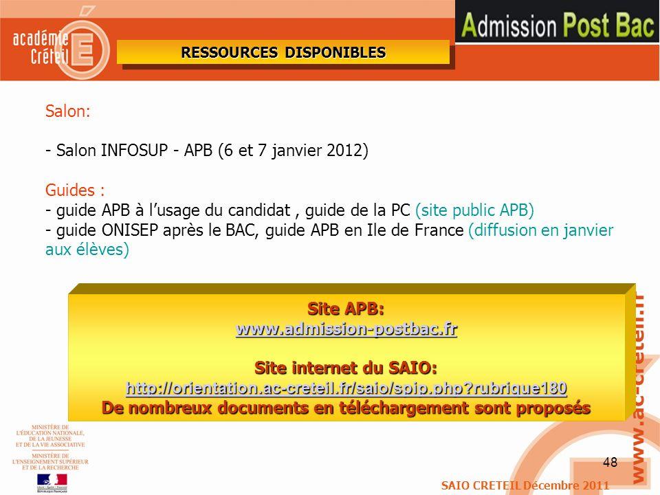- Salon INFOSUP - APB (6 et 7 janvier 2012) Guides :