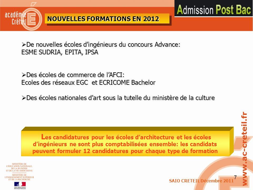 NOUVELLES FORMATIONS EN 2012