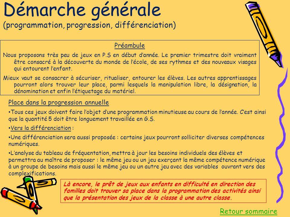 Démarche générale (programmation, progression, différenciation)