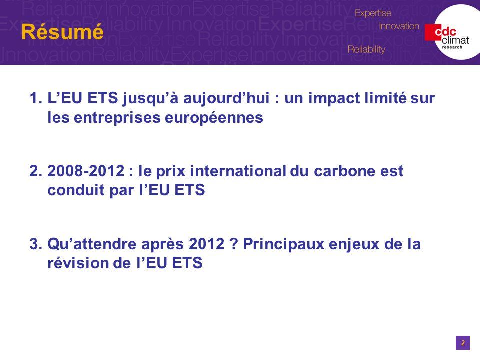 Résumé L'EU ETS jusqu'à aujourd'hui : un impact limité sur les entreprises européennes.
