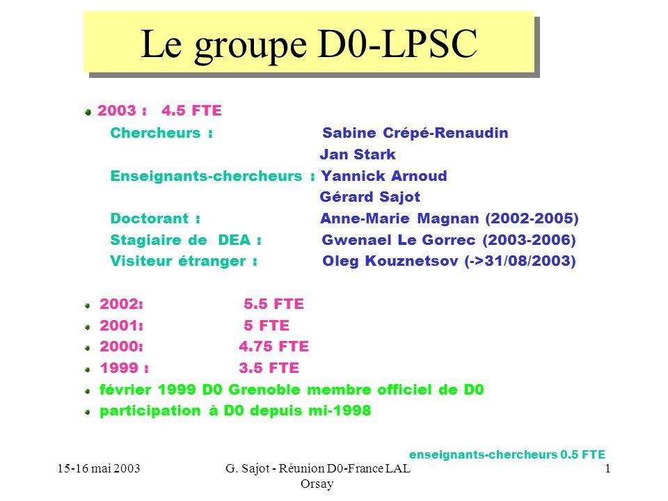 G. Sajot - Réunion D0-France LAL Orsay