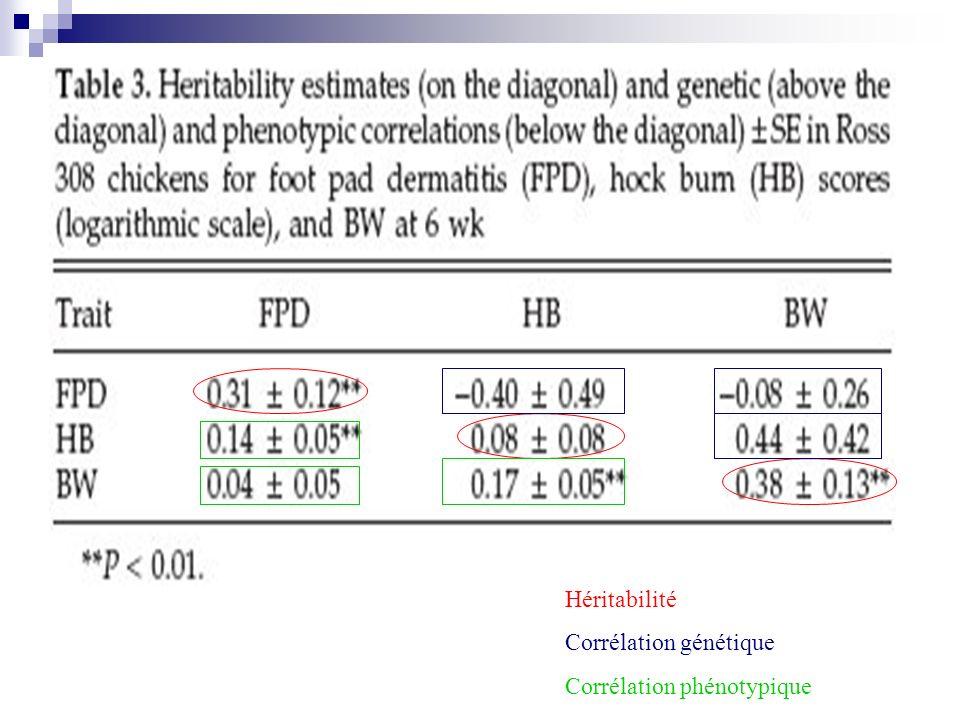 Héritabilité Corrélation génétique Corrélation phénotypique