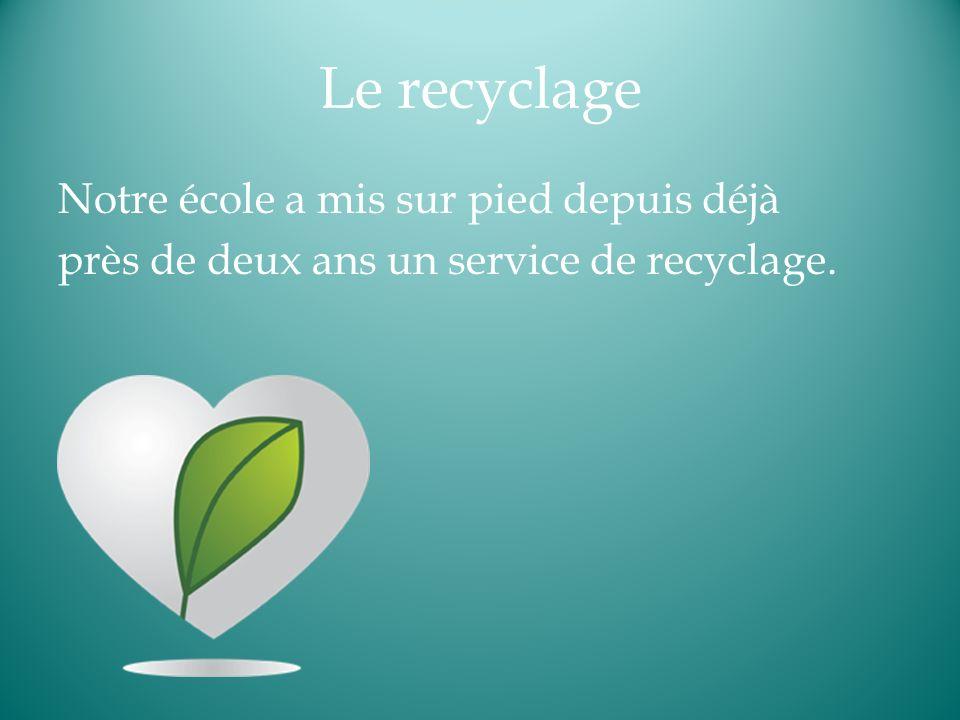 Le recyclage Notre école a mis sur pied depuis déjà