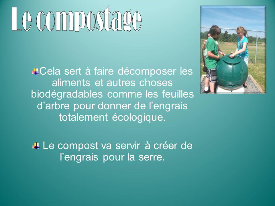 Le compost va servir à créer de l'engrais pour la serre.