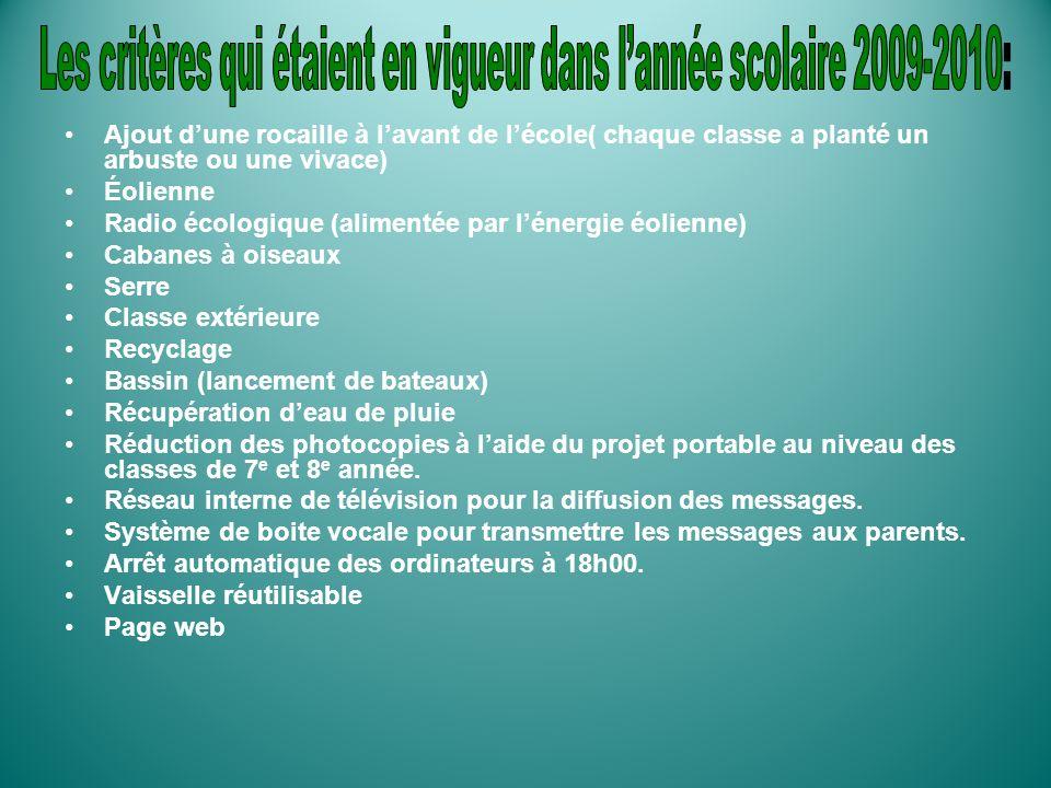 Les critères qui étaient en vigueur dans l'année scolaire 2009-2010: