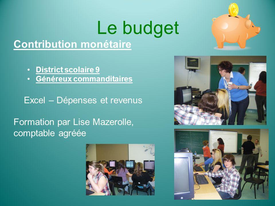 Le budget Contribution monétaire Excel – Dépenses et revenus