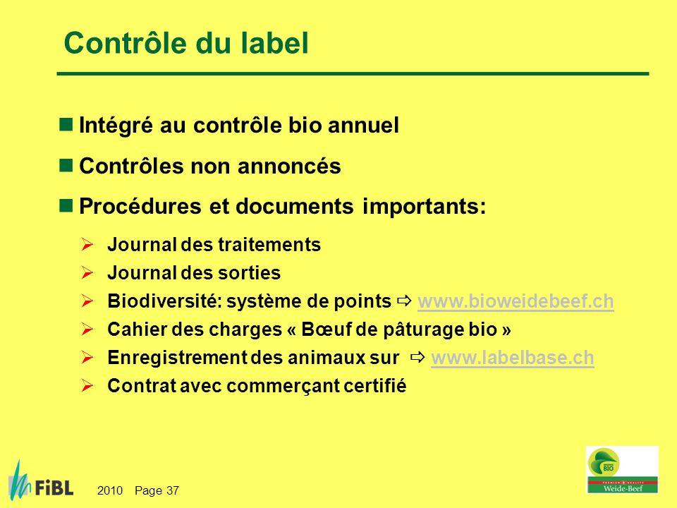 Contrôle du label Intégré au contrôle bio annuel