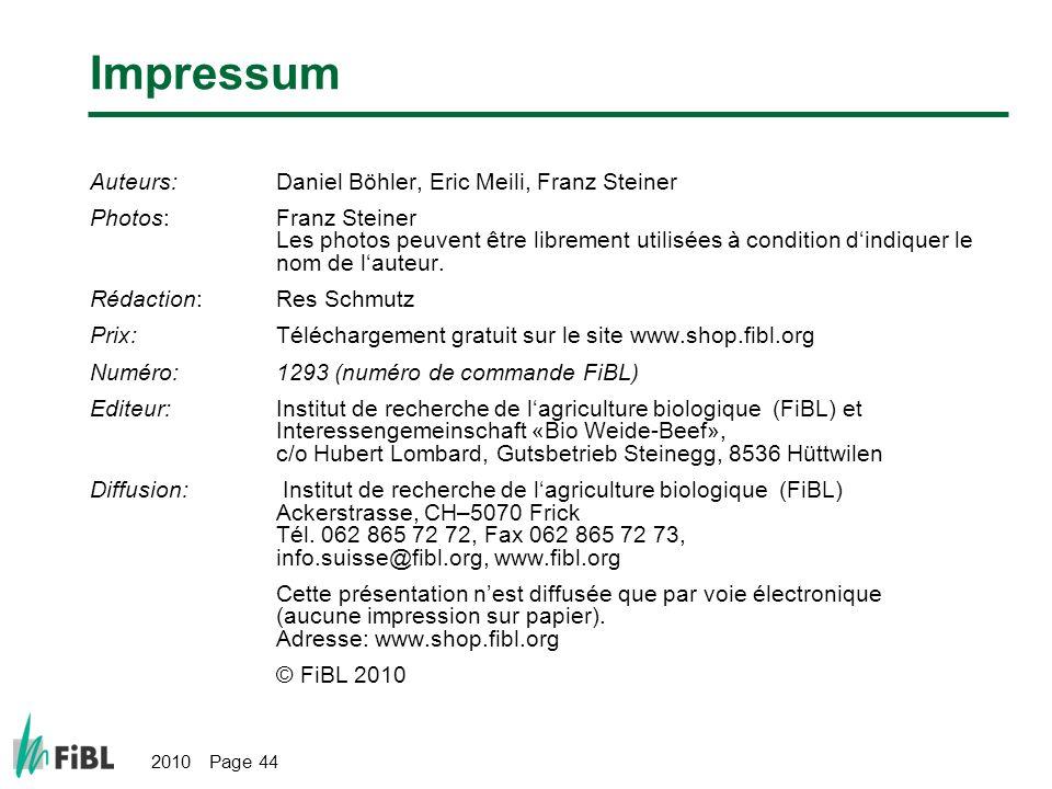 Impressum Auteurs: Daniel Böhler, Eric Meili, Franz Steiner