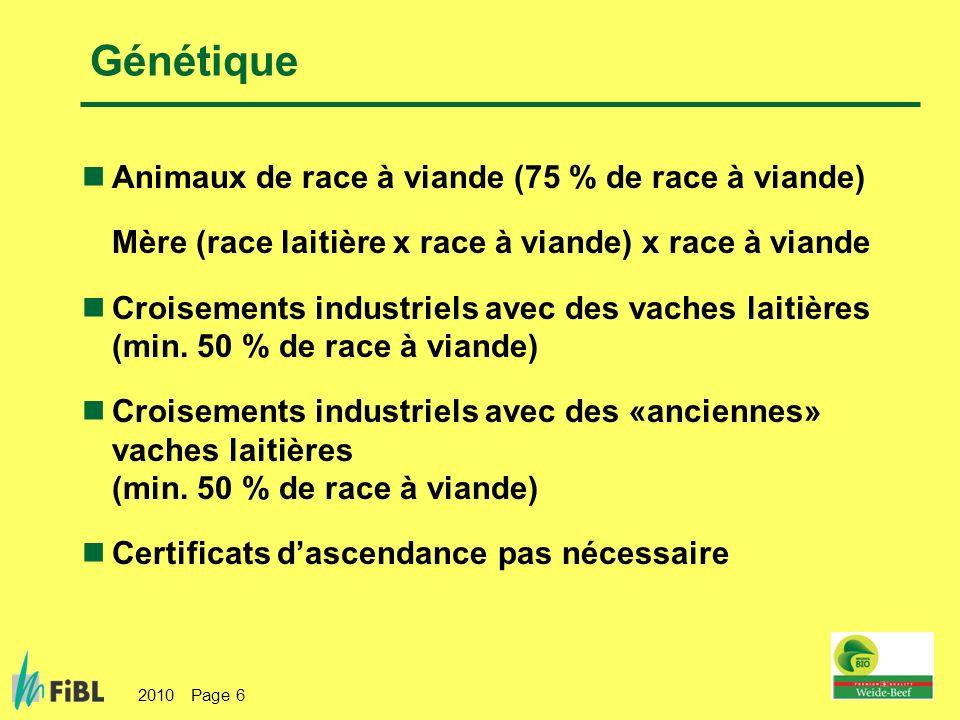 Génétique Animaux de race à viande (75 % de race à viande)