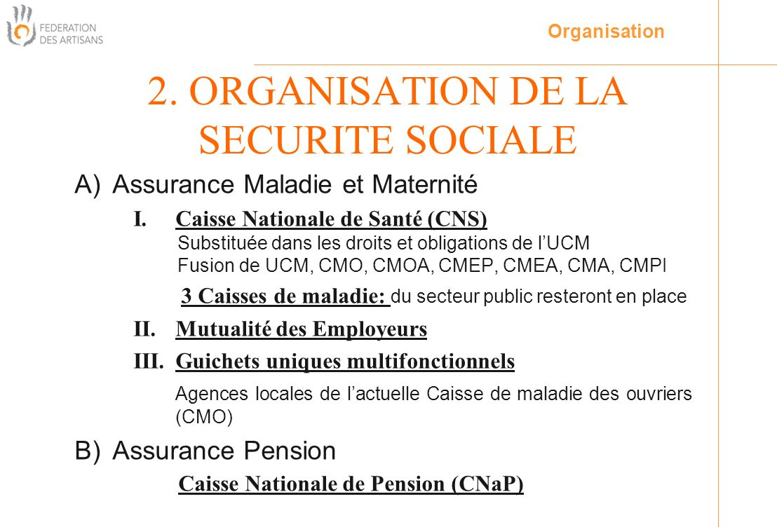 2. ORGANISATION DE LA SECURITE SOCIALE