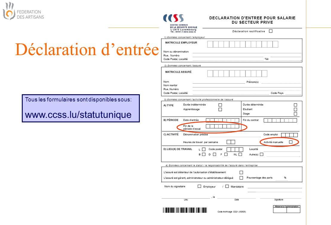 Déclaration d'entrée www.ccss.lu/statutunique Organisation