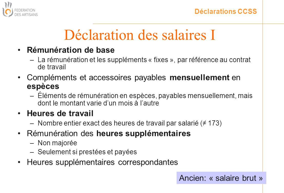 Déclaration des salaires I