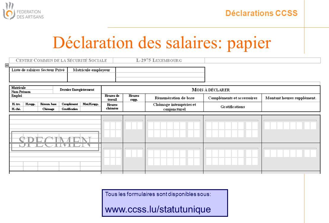Déclaration des salaires: papier