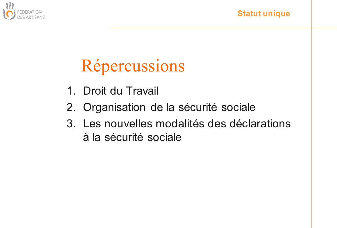 Répercussions Droit du Travail Organisation de la sécurité sociale