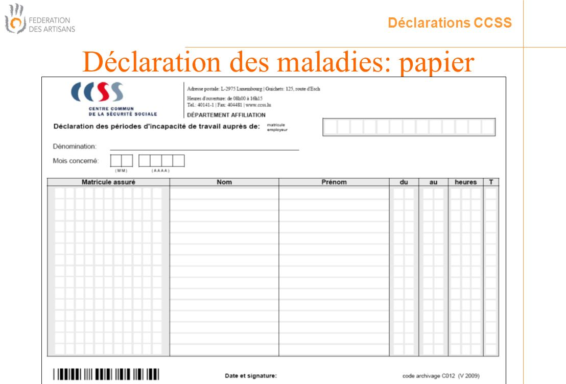 Déclaration des maladies: papier