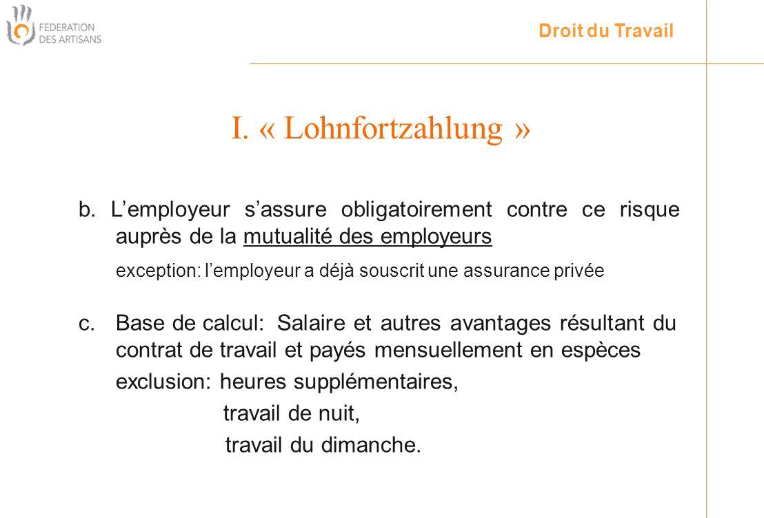 Droit du Travail I. « Lohnfortzahlung » b. L'employeur s'assure obligatoirement contre ce risque auprès de la mutualité des employeurs.