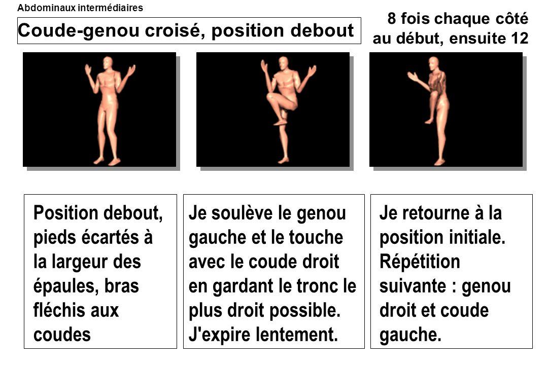 Coude-genou croisé, position debout