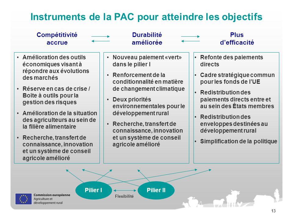 Instruments de la PAC pour atteindre les objectifs