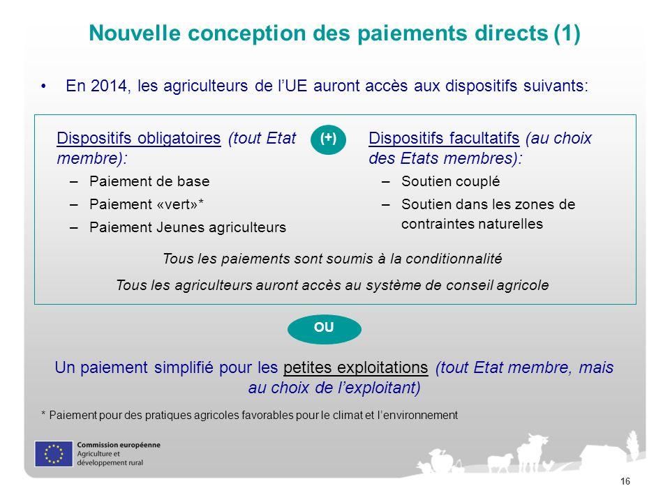 Nouvelle conception des paiements directs (1)