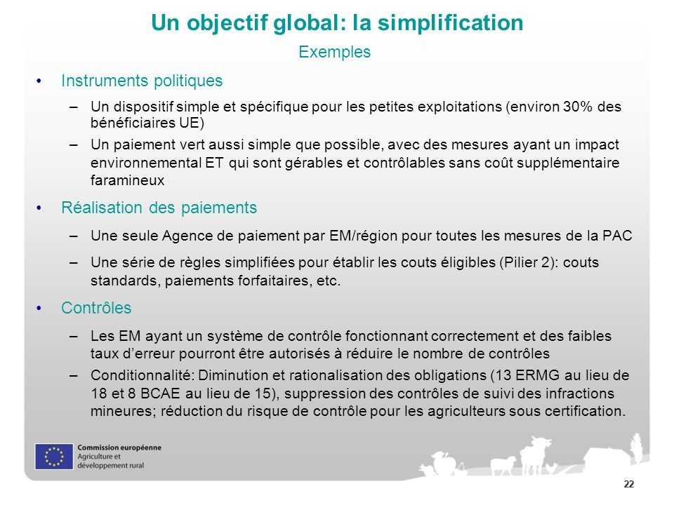 Un objectif global: la simplification